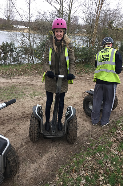 Laura getting used to the Segway