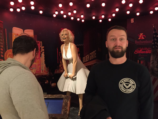 Most of the pictures taken at the Sexmuseum are X-rated, but this one of Scotty surprised to see Marilyn Monroe is okay.