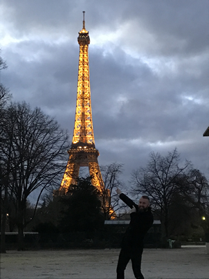 Eiffel Tower Paris - I am pointing to it just in case you miss it.