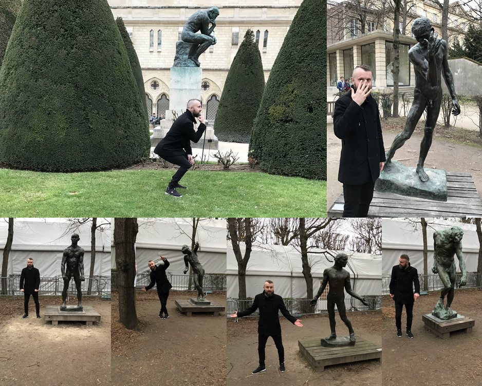 Laura was cringing a bit as she took these photos of me enjoying myself at the Rodin museum Paris