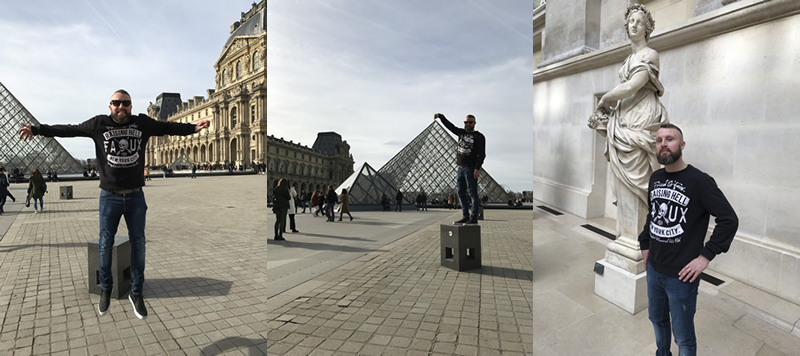 Levitating outside the Louvre in Paris!