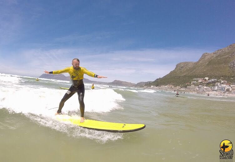 GoGoGaz surfing during Stoke Surf School lessons