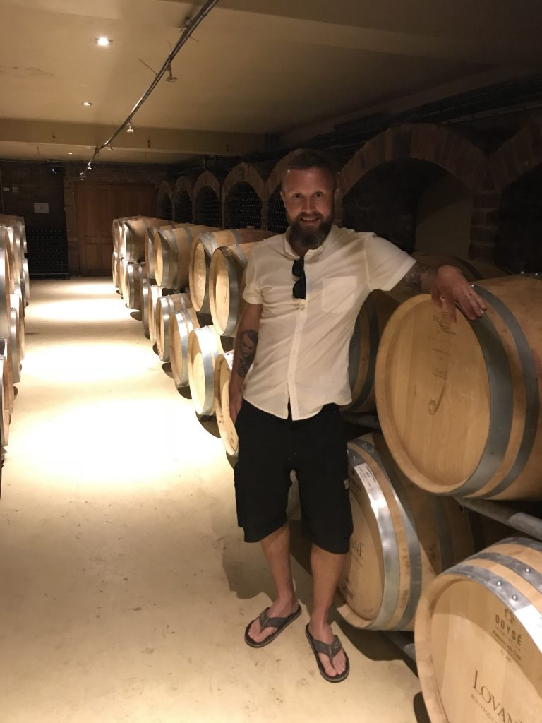 GoGoGaz checking out the cellar at Lovane Boutique Wine Estate in my carefully selected wine connoisseur outfit
